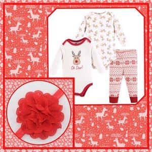 🔴New🔴3 Piece Reindeer Bodysuits, Pants & Bow🔴
